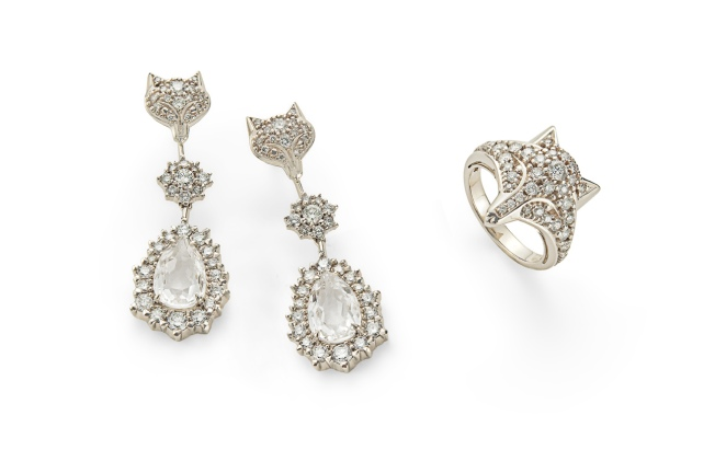 ROCK WINTER - brincos de Ouro Nobre com cristal e diamantes e anel de Ouro Nobre com diamantes 2